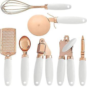 cocina 7 piezas juego de oro rosa horneado Herramienta cocina Baratijas conjunto herramientas de cocina gadgets de cocina(blanco)