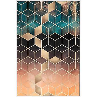 JUNIQE Print -  Ombre Dream Cubes - Abstrakt & Geometrisch Poster in Orange & Rosa