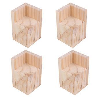 4Pieces Pine Wood 6x6x8cm Furniture Leg Riser Cabinet Desk Feet Lifter