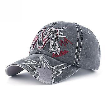 Lettre M Bordure Toile Denim Baseball Cap Outdoor Réglable Snapback Hat