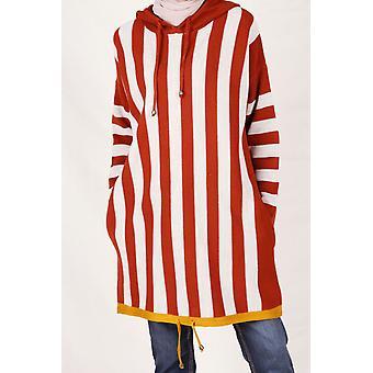 Striped Hooded Knitwear Tunic