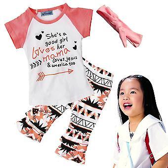 3pcs Baby Mädchen Kinder Pink Tops T-Shirt + Hose + Stirnband Outfits Blumen Set