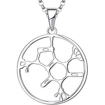 Damen Kette Silber 925,Halskette Anhänger Koffein Molekül Chemie mit Weiß Vergoldet