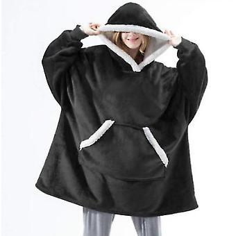 Women's Pajamas Can Wear Lamb Wool Lazy Blanket Hooded Sweater(Black)