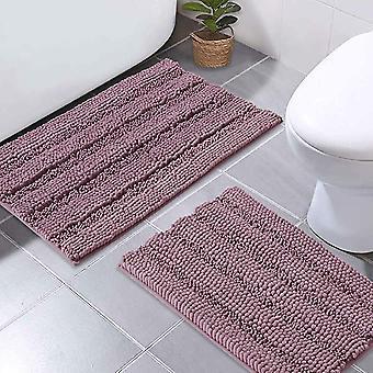 Tapis de bain Mauve tapis de douche antidérapants extra absorbants tapis de bain épais doux et moelleux, tapis de sol en microfibre antidérapants-50x80cm plus 43x 61cm