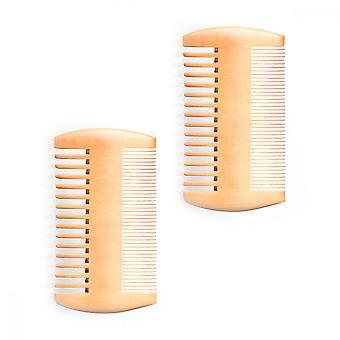 Wooden Beard Comb, 2pcs Anti Static Dual Action Fine And Coarse Teeth Pocket Comb