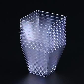 Tasses jetables de portion en plastique - Récipient de dessert trapézoïdal