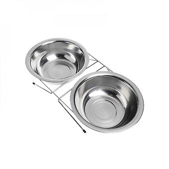 Pet Double Bowl Feeding Cat Dog Puppy Feeder Stainless Steel Food Water Supplies