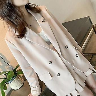 Spring Women Pink Office Blazer Top Pleated Skirt Suits Casual Work Mini