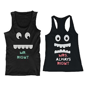 Sr. la derecha Sra. siempre derecha y su y su coincidencia de camisetas para parejas