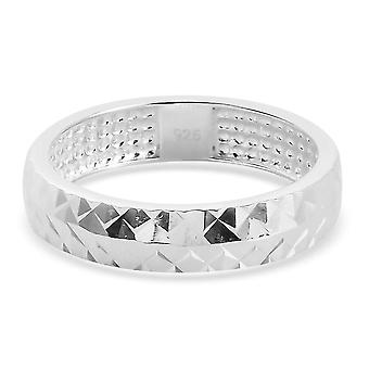 TJC Silver Wedding Band Ring for Women 925 Sterling Stamped Jewellery(M)