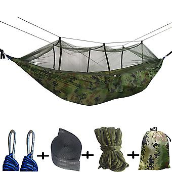 Outdoor Hammock With Mosquito Net Double Swing Hammock,army Green
