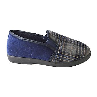 SlumberzzZ Mens Plaid Check Fleece Lined Closed Slippers