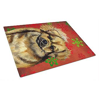 Tibetan Spaniel Red and Green Snowflakes Christmas Glass Cutting Board Large