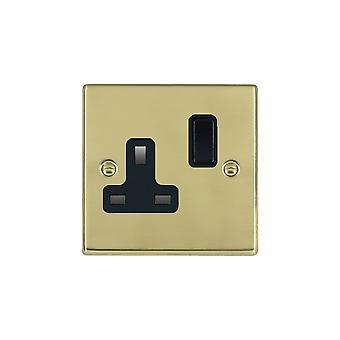 Hamilton Litestat Hartland Polished Brass 1g 13A DP Switched Socket BL/BL