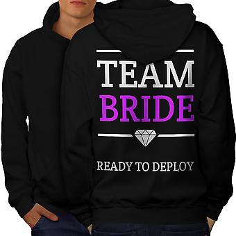 Team Bride Fun Men BlackHoodie Back | Wellcoda