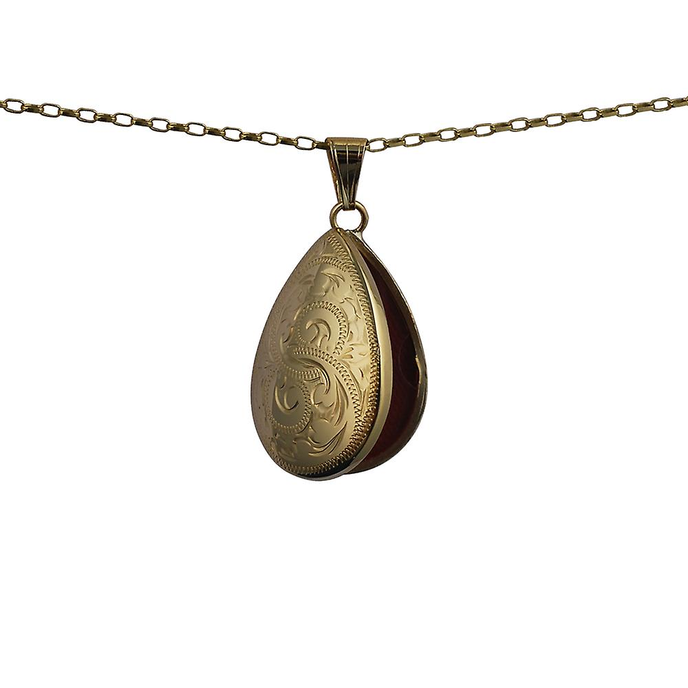 9ct Gold 30x20mm hand engraved teardrop Locket with a belcher Chain 24 inches