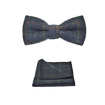 Erbe-Check Navy Blue-Bow-Tie & Einstecktuch Set - Tweed, karierten Country-Look