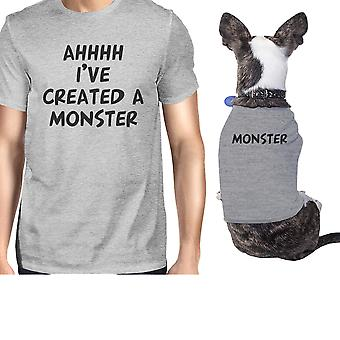 Created A Monster Small Dog and Owner Matching Shirts Grey Gifts