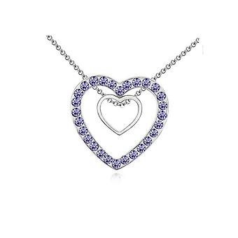 Double Silver Two Hearts Pendant with Purple Stone Necklace