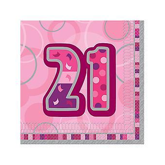 Födelsedag Glitz rosa - 21 födelsedag - lunch servetter