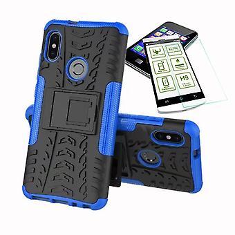 Für Xiaomi Redmi Note 5 Hybrid Case 2teilig Blau + Hartglas Tasche Hülle Cover Hülle