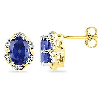 Lab Created Blue Sapphire 2.31 Carat (ctw) Stud Earrings in 10K Yellow Gold with Diamonds 1/10 Carat (ctw)