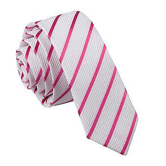 Weiß & heiß rosa einzelne Streifen schmaler Krawatte