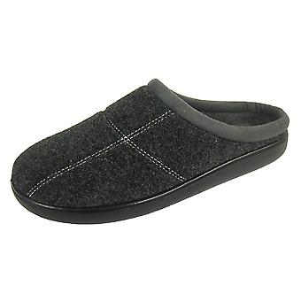 Coolers Mens EE Wide Fitting Felted Textile Mule Slippers
