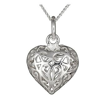 Filigree Open Heart Silver Pendant Necklace with Silver Curb Chain