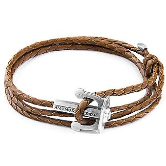 Anchor and Crew Union Silver and Braided Leather Bracelet - Light Brown