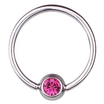 BCR Piercing, bollen stängning Ring, tjocklek 1,2 mm | Diameter 8-12 mm | Sten rosa