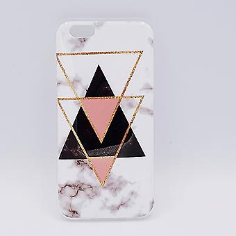 For IPhone 6/6S pouch-black marble triangles & pink
