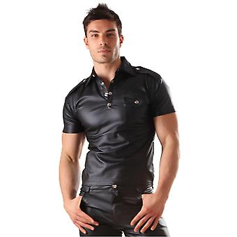 Honour Men's Polo Shirt Top in Leather Look Kinky Military Style Costume