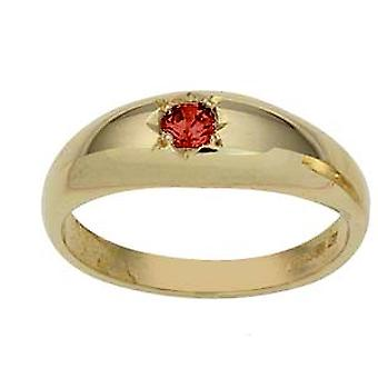 9ct Gold Garnet Gypsy set solitaire Dress Ring Size Z