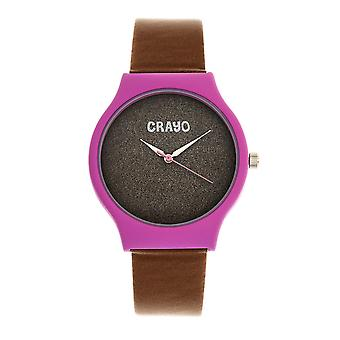 Crayo Glitter Unisex Watch - Hot Pink/Brown