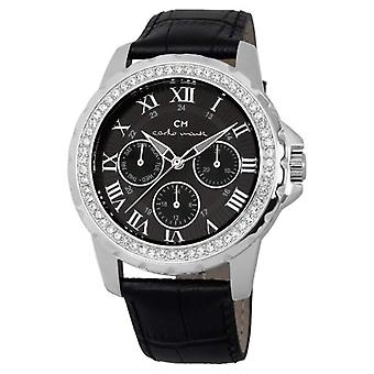 Carlo Monti CM600-122-wristwatch, leather, color: black