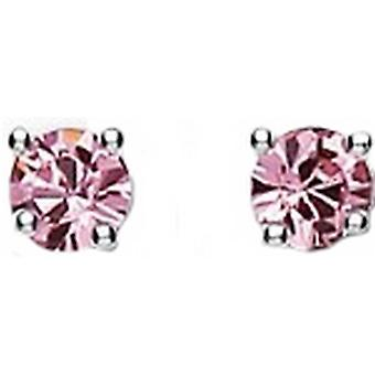 Bella 4mm Cubic Zirconia Stud Earrings - Silver/Pink