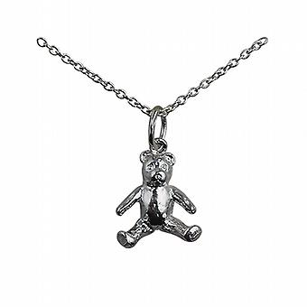 Silver 15x12mm sitting Teddy Bear Pendant with a rolo Chain 18 inches