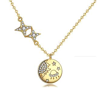 Galaxy and Stars pendant necklace adorned with white Swarovski Crystal and yellow gold plated 8090
