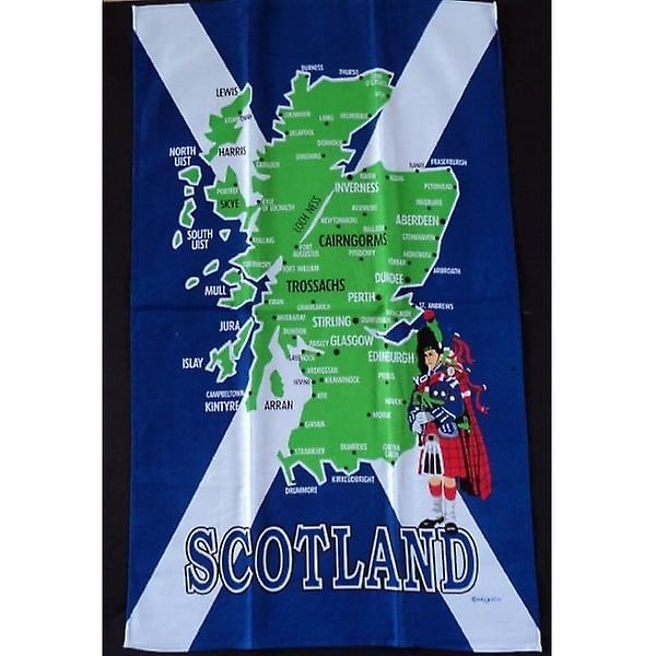 Union Jack Wear Scotland Map Tea Towel With Saltire Flag