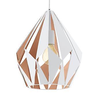 Eglo Carlton 1 White And Rose Gold Open Cage Pendant Light