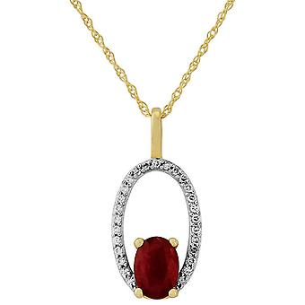 Mark Milton Diamond and Ruby Oval Pendant - Gold/Red/Silver