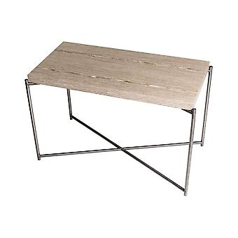 Gillmore Weathered Oak Rectangular Side Table With Gun Metal Cross Base