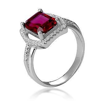 Orphelia Silber 925 Ring mit Rubin und Zirkonium ZR-7426