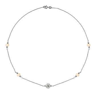 Rose, krystall og sølv kultur Daistod halssmykke 925
