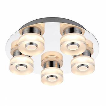 5 Light Bathroom Flush Ceiling Light Chrome, Frosted Acrylic Ip44