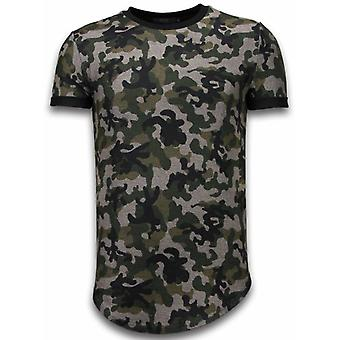 Camouflaged Fashionable T-shirt - Long Fit -Shirt Army Pattern - Green