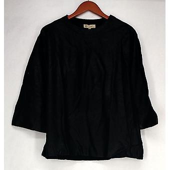 Diane Gilman Sweater Metallic Foil Crew Neck Femme Noire 510-514