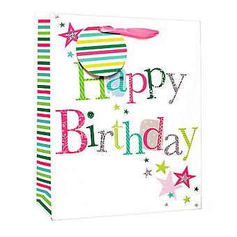 Simon Elvin Happy Birthday Glitter Satin Foil Large Gift Bags (Pack Of 6)